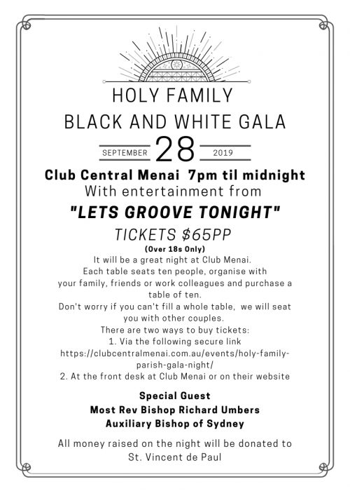 Holy Family Black and White Gala